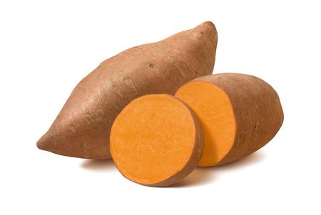 Whole sweet potato and slices isolated on white background. Stockfoto
