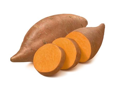 Zoete aardappel of Yam geïsoleerd op een witte achtergrond. Stockfoto