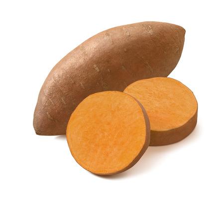 Raw sweet potato or yams isolated on white background.