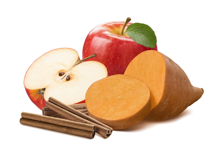 Sweet potato, cinnamon and red apple half isolated on white background. With clipping path for package design
