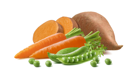 Sweet potato, carrot and green peas isolated on white background. Package design element with clipping path 版權商用圖片