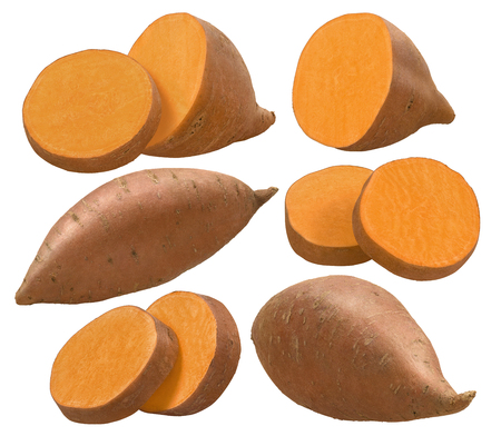 Whole sweet potato and pieces isolated on white background. Set for package design. With clipping path