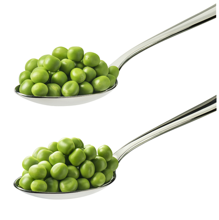 Green peas in spoon set isolated on white background. Package design element