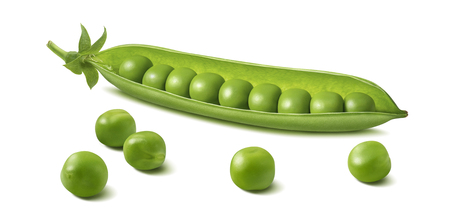 Fresh green pea pod with beans isolated on white background. Horizontal design element with clipping path Stockfoto
