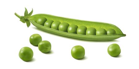 Frische grüne Erbsenschote mit Bohnen lokalisiert auf weißem Hintergrund. Horizontales Gestaltungselement mit Beschneidungspfad Standard-Bild