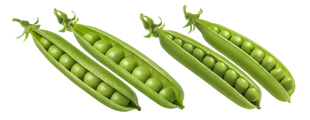 Green pea pod together set isolated on white background. Package design element with clipping path Banco de Imagens
