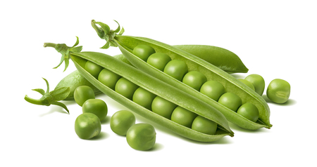 Fresh green peas in pods isolated on white background. Package design element with clipping path
