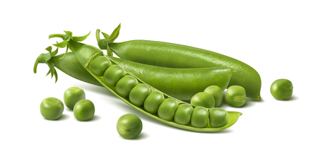 Fresh green peas in pods. Horizontal composition isolated on white background. Package design element with clipping path