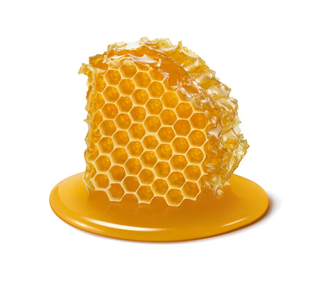 Honeycomb. Honey cell slice isolated on white background. Package design element with clipping path Standard-Bild - 105784755
