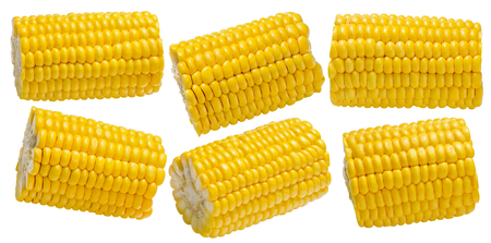 Corn cob pieces set isolated on white background. Package design element with clipping path Stock Photo
