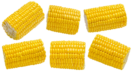 Corn cob piece set 2 isolated on white background. Package design element with clipping path