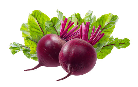 Beet roots and leaves isolated on white background. Package design element with clipping path