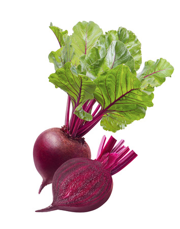 Red beet root and slice isolated on white background. Package design element with clipping path