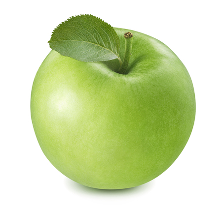 Green cooking apple isolated on white background.