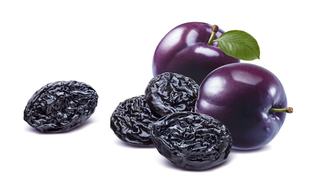 Fresh and dry purple plum isolated on white background. Banco de Imagens