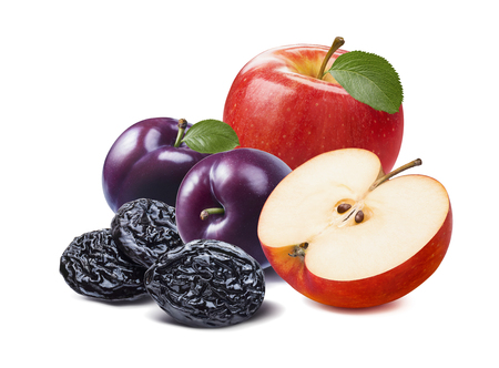Red apple, purple fresh and dried plums isolated on white background. Stock Photo