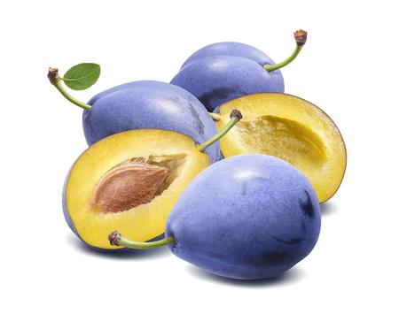 Fresh blue plum composition isolated on white background. Stock Photo