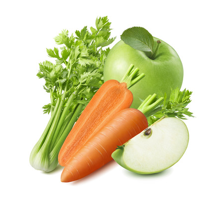 Celery, carrot and green apple isolated on white background. Stockfoto