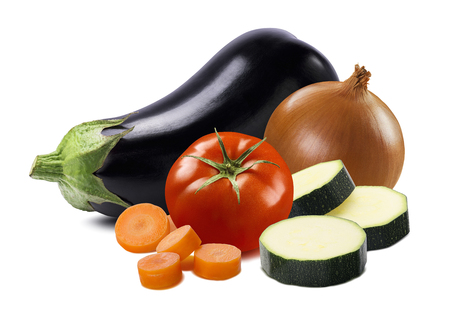 Eggplant, tomato, onion, carrot and zucchini pieces isolated on white background. Stock Photo