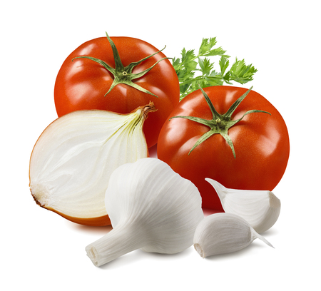 Tomato, garlic, onion and herbs isolated on white background. Stock Photo