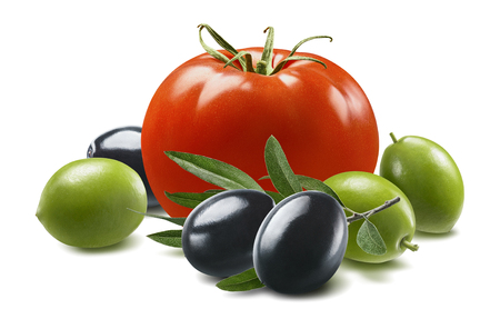 Red tomato, green and black olives isolated on white background.