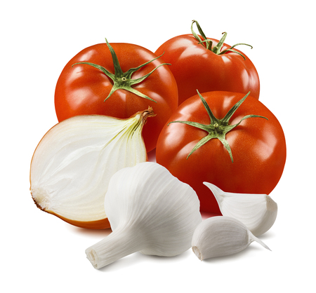Tomato, onion and garlic cloves isolated on white background.