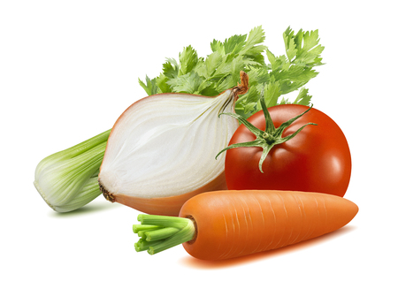 Celery, onion, carrot, tomato. Soup ingredients isolated on white background. Stockfoto
