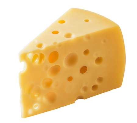 Block of Swiss cheese isolated on white background.