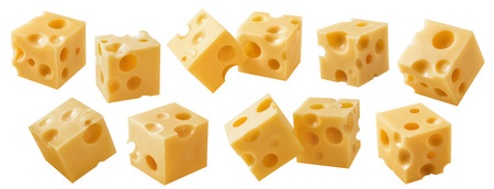 Cheese cube pieces set isolated on white background.