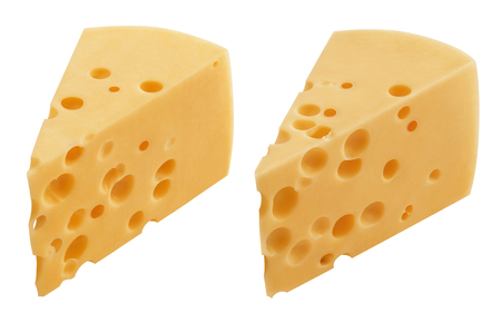 Pieces of hard cheese isolated on white background.