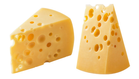 Pieces of Swiss cheese isolated on white background.