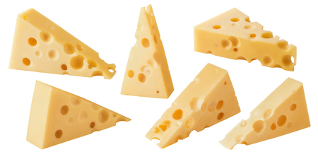 Triangular pieces of cheese. Various angles.