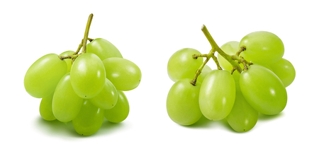 Small bunches of green grapes isolated on white Banco de Imagens