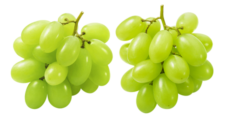 Green grapes groups isolated on white  with clipping path