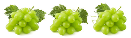 3 bunches of green grapes isolated on white