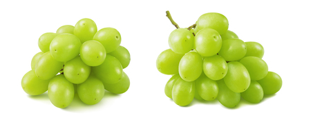 Lovely bunches of green grapes isolated on white