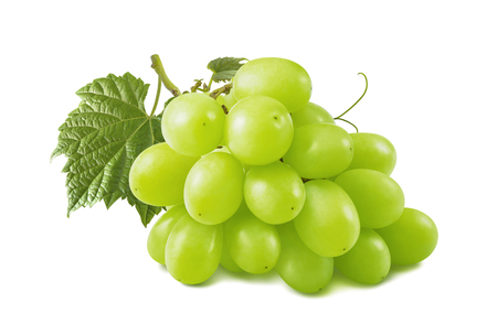 Single green grapes bunch isolated on white