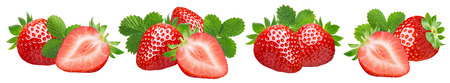 Strawberry with leaves set isolated on white 스톡 콘텐츠