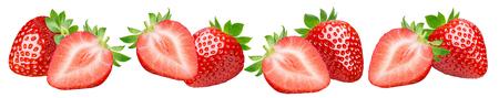 Strawberry groups set isolated on white