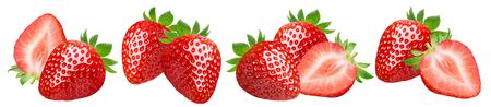 Fresh strawberry set isolated on white Stok Fotoğraf