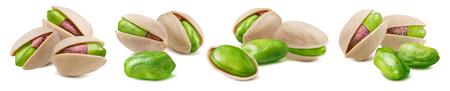 Pistachio nut set isolated on white