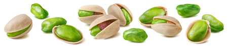 Shelled pistachio nut set isolated on white 스톡 콘텐츠