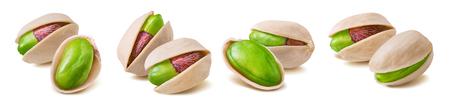 Green pistachio nut set isolated on white