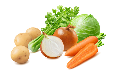 Cabbage, carrot, onion, potato, celery isolated on white