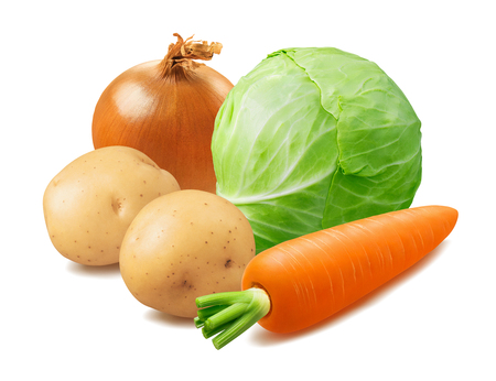 Cabbage, potato, carrot and onion isolated on white