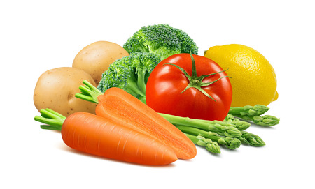 Carrots, broccoli, potato, tomato, asparagus and lemon isolated on white Stock Photo