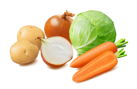 Fresh cabbage, potato, carrot, onion vegetables isolated on white