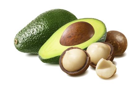 Avocado and macadamia isolated on white Stok Fotoğraf