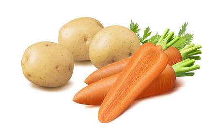 Aardappelen en wortelen geïsoleerd op wit