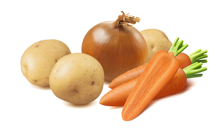 Carrots, onion, potatoes isolated on white Stock Photo
